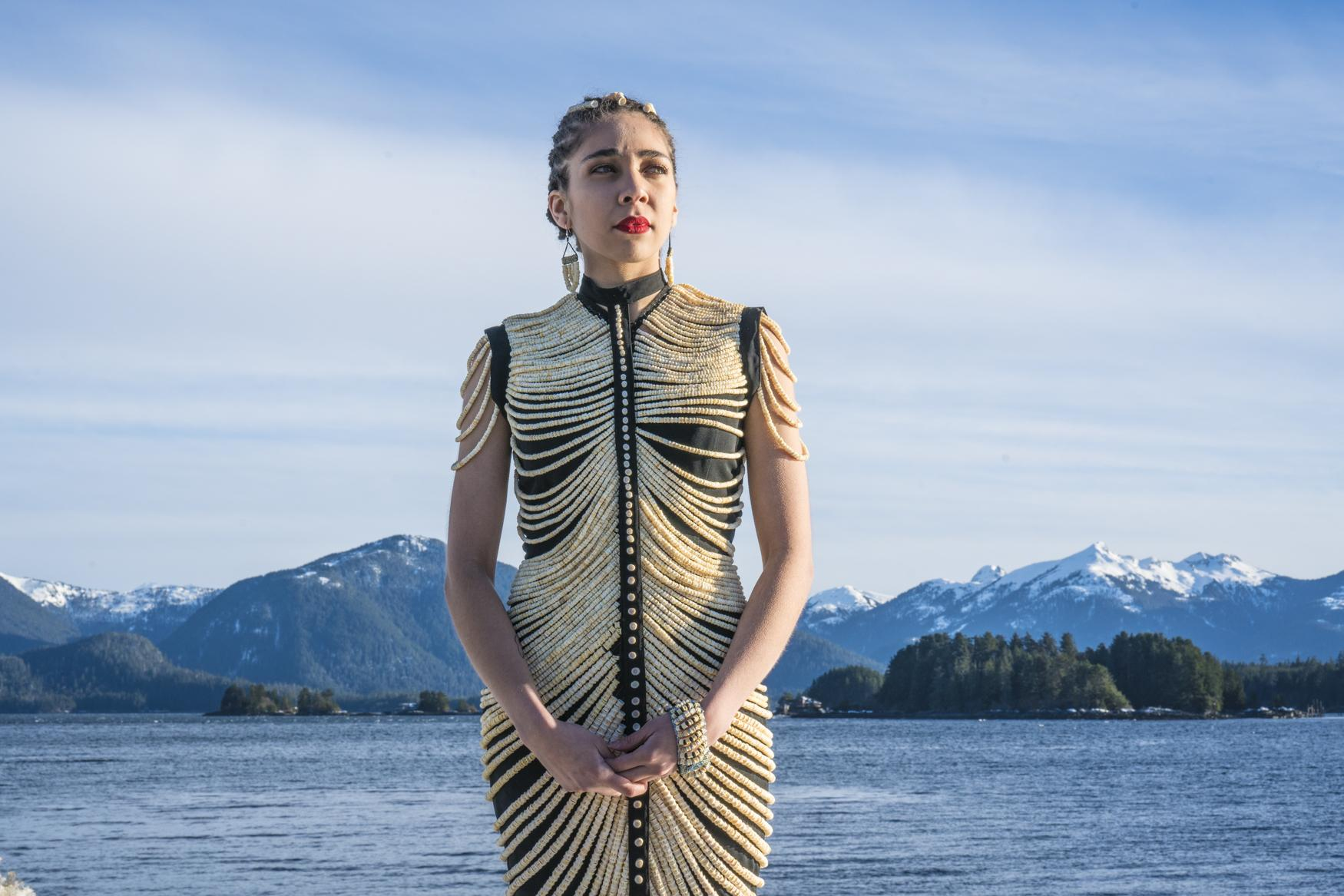 """""""Salmon connect us all. They are in our waters, on the beach, in our forests, in our freezers. Salmon are a part of who we are,"""" says Gibson. Intrigued and inspired, Gibson decided to combine her passion for natural elements with her interest in wearable arts and fashion. She began collecting, dreaming and eventually, imagining a dress adorned with Alaska's wildbeads.               """