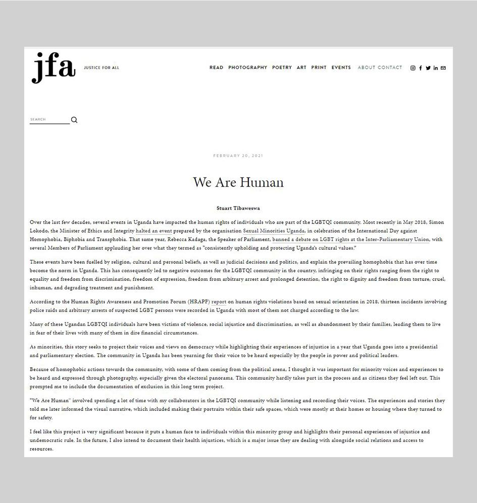 'We Are Human' - Justice For All (jfa ) , February 2021