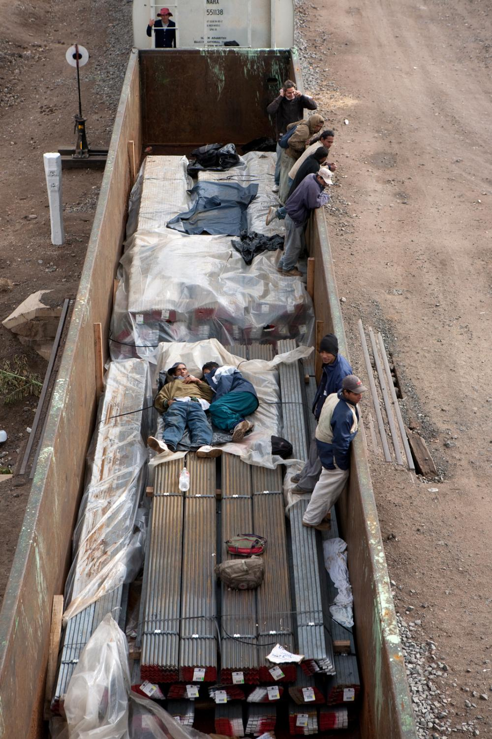 MEXICO Central America migrants travel on a freight train heading north in Zacatecas state on June 10, 2018. The journey from Central America to the U.S.-Mexico border is dangerous and long with no assurance they will make it to their destination.