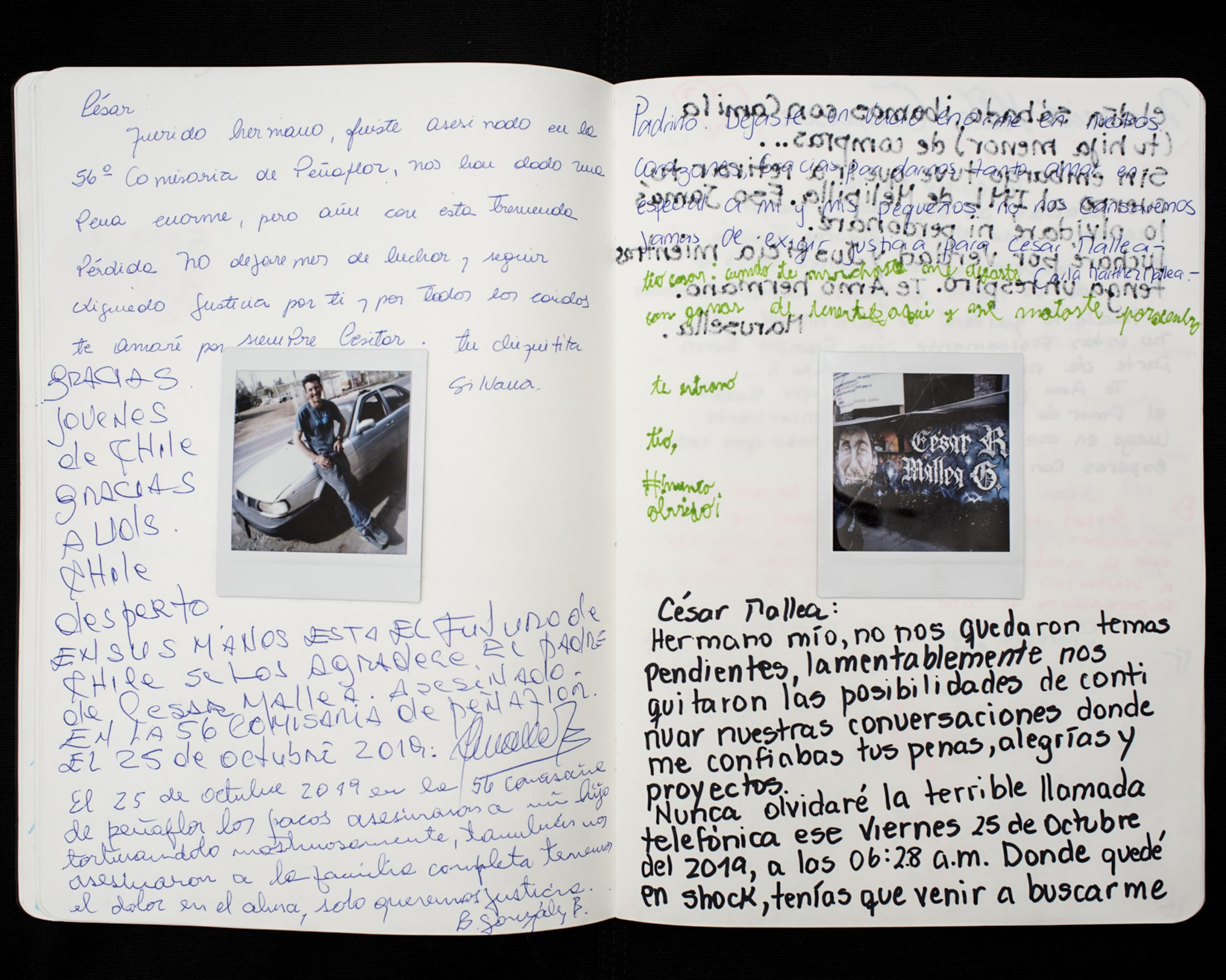 A family letter to the memory of César Mallea, and his site of death, a police station in Peñaflor, Chile. César Mallea's death took place on the night of October 25, 2019, when he was stopped during the first days of curfew while driving back home in his car. A few hours after he was detained and forced to spend the night at the station, cops found César's body hanging in his cell by a piece of blanket. Further investigations revealed that the station's security cameras had stopped working that night. After cops delivered Cesar's body to his family, they found multiple bruises and wounds and believed that his death was beating and covered up as a suicide.