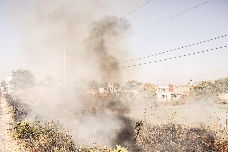 Fire in a grassland area in Ahuetitila, Puebla, Mexico