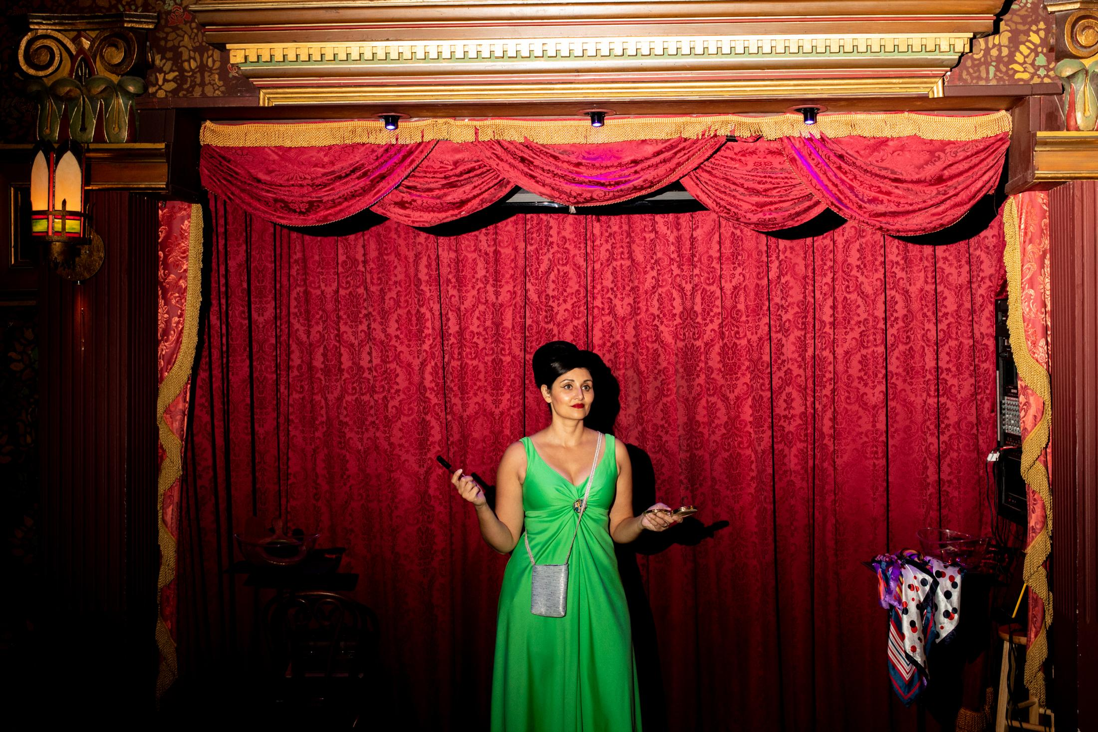Simone Turkington,42, rehearses before her show at the Magic Castle in Hollywood.