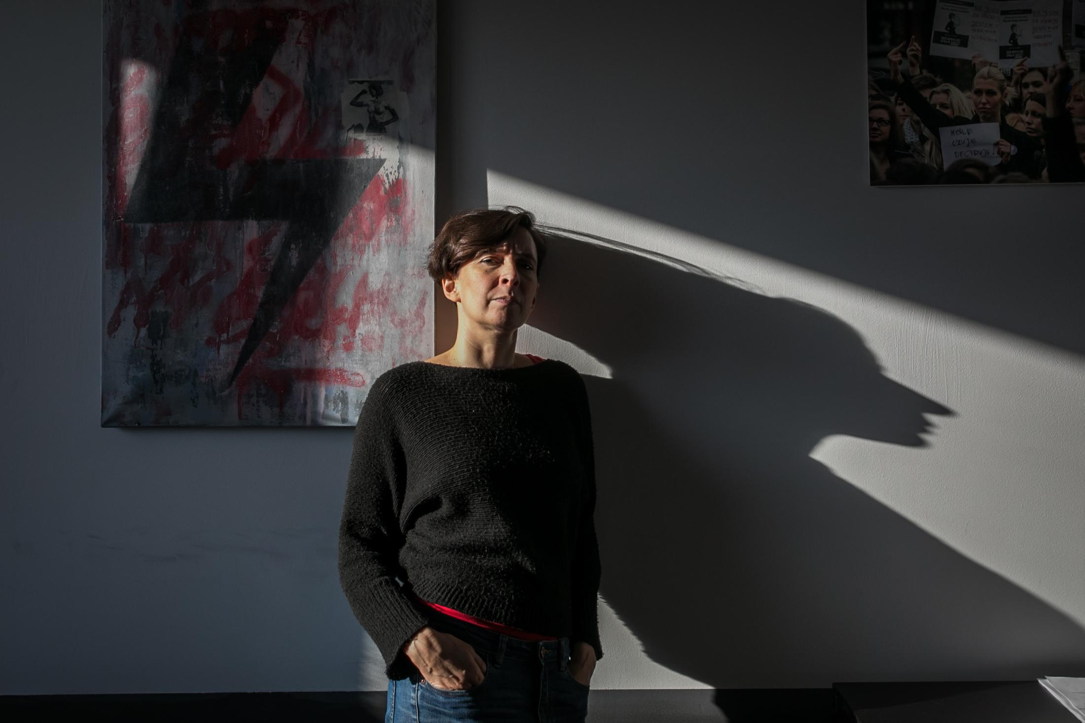Klementyna Suchanow is one of the founders of All-Poland Women's Strike movement. Women's Strike Office in Warsaw, Poland.