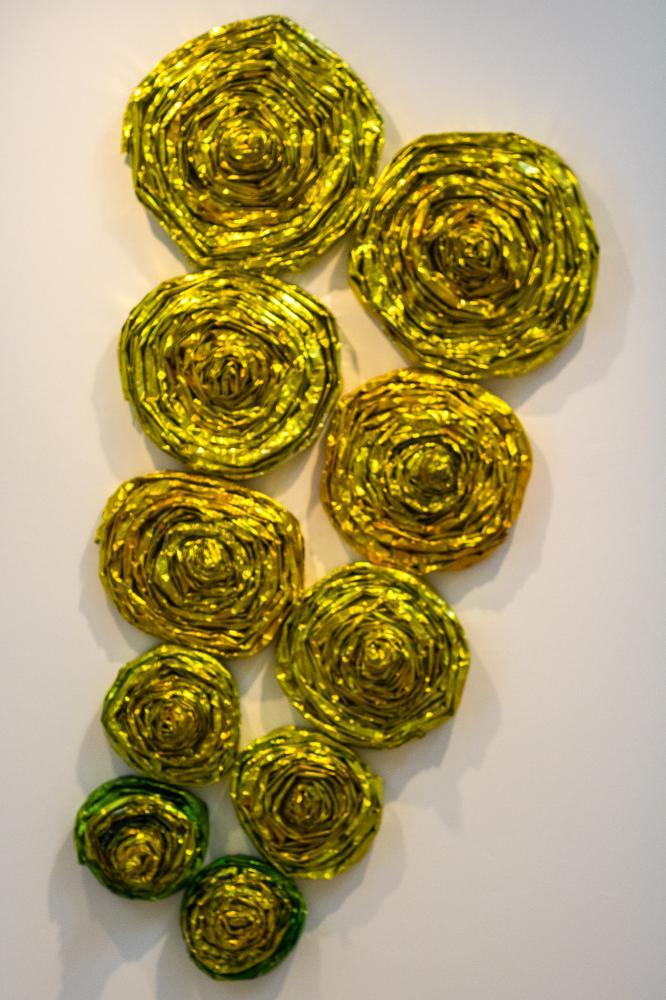 "Mayan 2012 Aluminum foil, aniline dye, polyurethane, glue 60""Hx30""Wx6""D"
