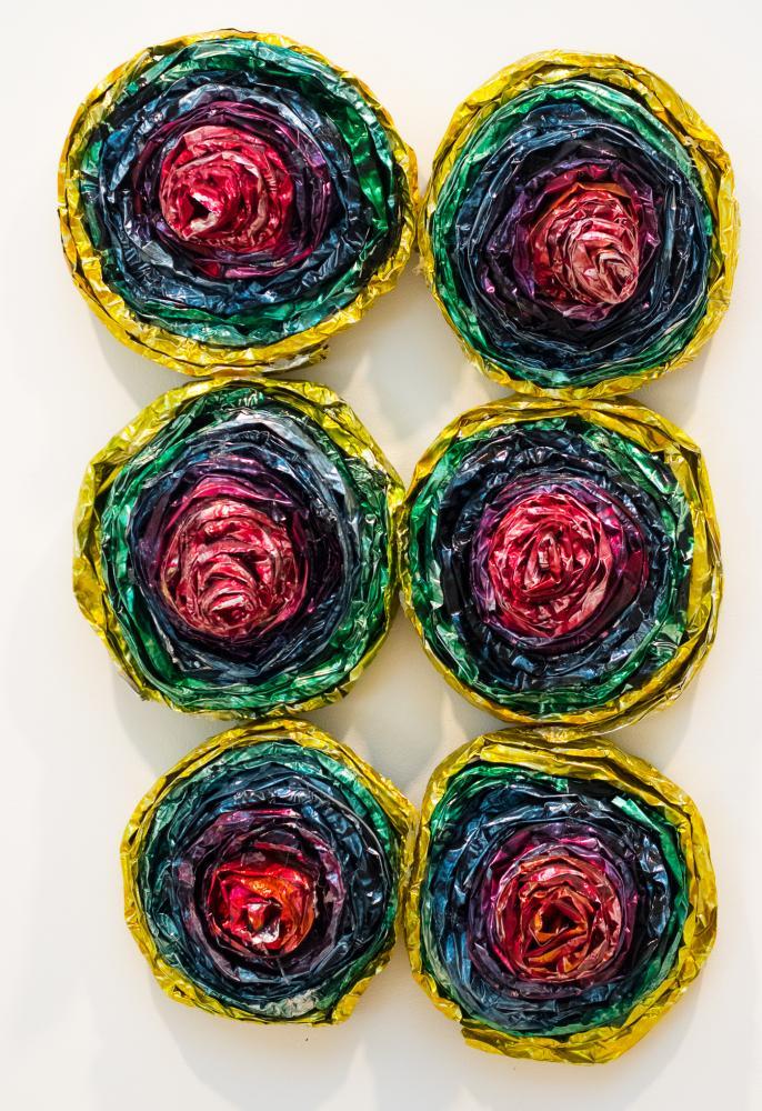"""Eva 2012 Aluminum foil, aniline dye, polyurethane, glue 60""""Hx30""""Wx6""""D"""