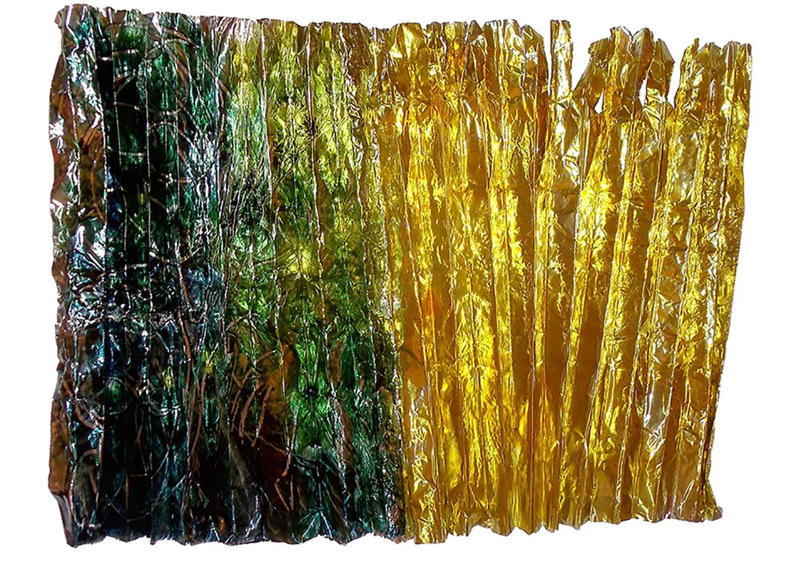 "Turner's Light 2012 Aluminum foil, aniline dye, polyurethane, glue 30""Hx24""Wx6""D"