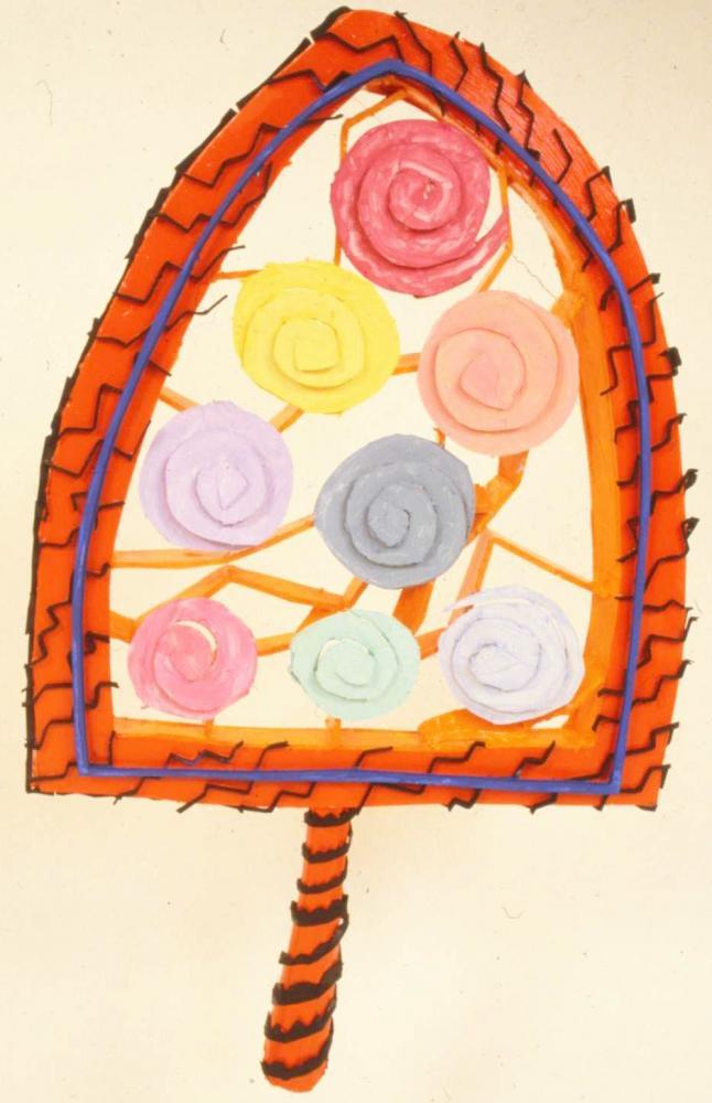 """Painter's Palette 1981 Foam-cor,. paper, gesso, pins, acrylic paint 24"""" x 30"""" W x 6"""" D"""