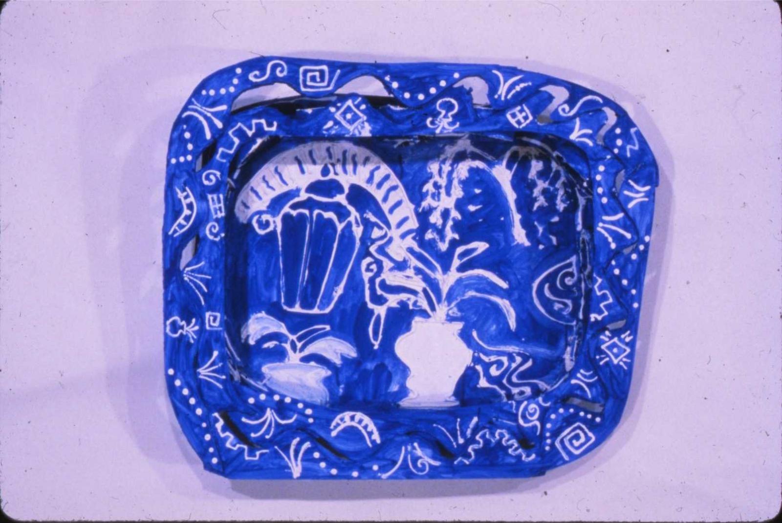 "Blue China Plate 1982 Foam-cor, gesso, Muralo paint 24"" H x 20"" W x 6"" D Collection of the Danforth Art Musem"