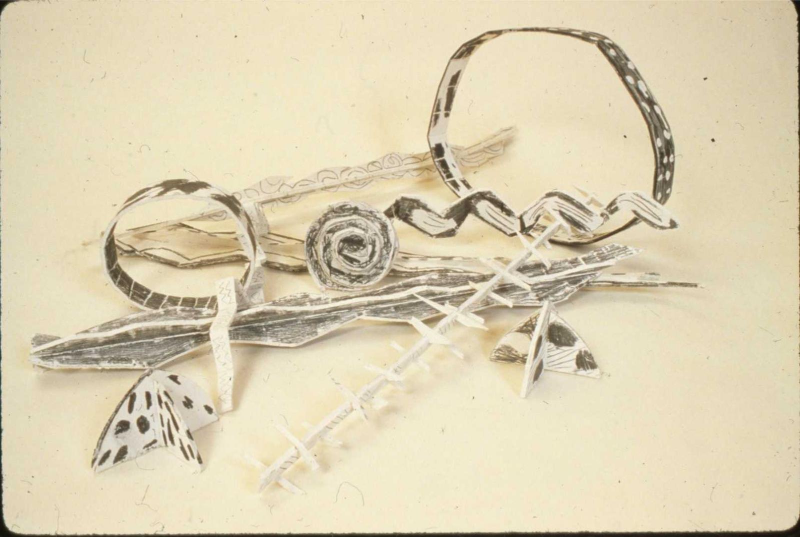 "Sticks and Stones 1983 Foam-cor,gesso and graphite 24"" H x 30"" W x 6"" D"