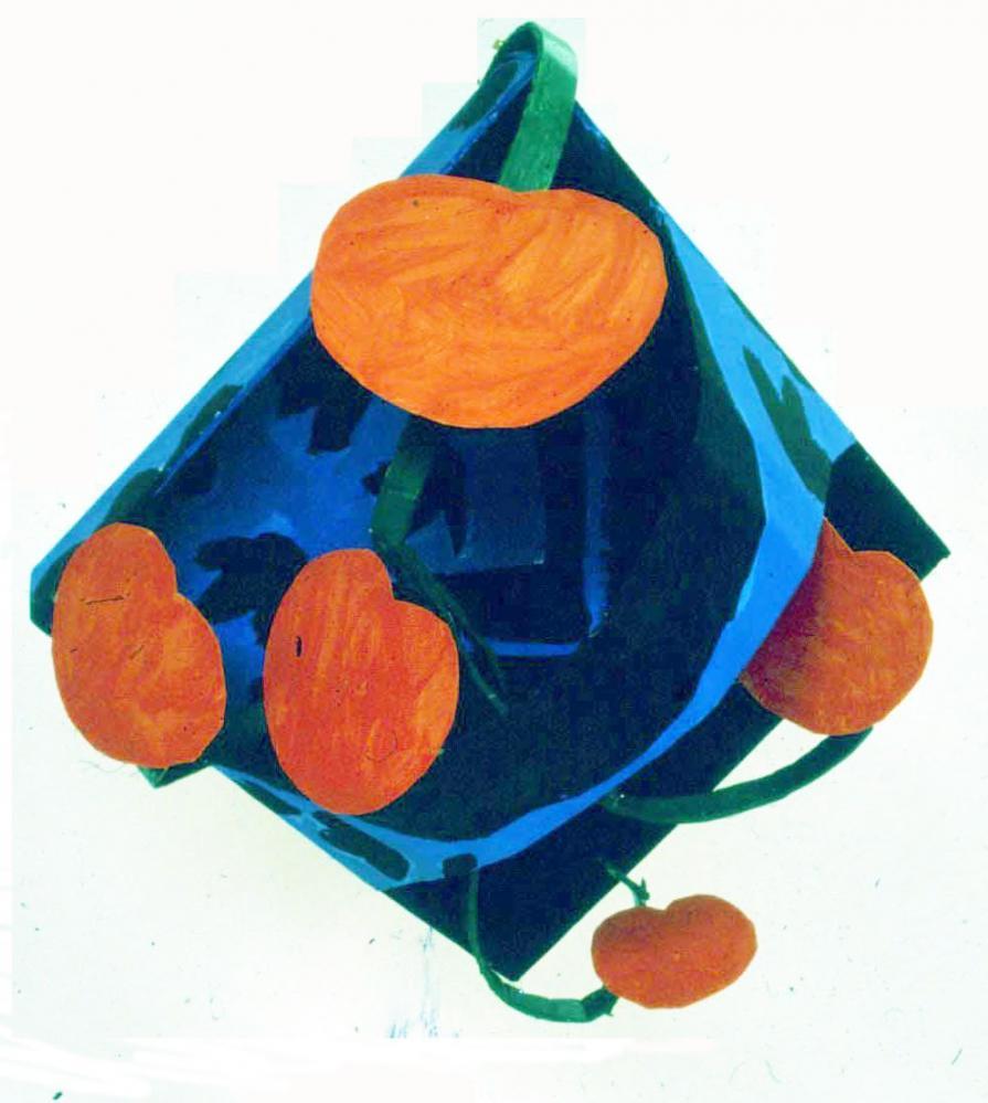 "Oribe Dish With Nasturtiums 1981 Foam-cor, paper, gesso, pins,acrylic paint 24"" H x 30"" W x 12"" D"