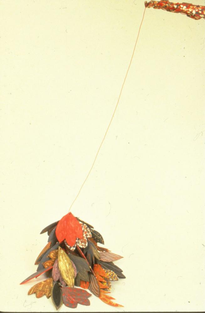 """Pile of Leaves 1982 Foam-cor, paper, gesso, pins,acrylic paint,metallic paint, red string 24"""" H x 30"""" W x 12"""" D"""