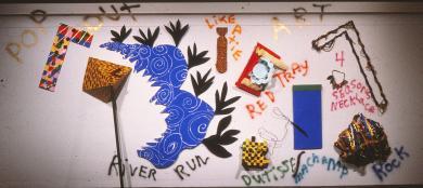 Pop Out Art 1981 Foam-cor, newspaper, gesso,wood, ribbon, spray paint, wire 12' H x 22' W x 6' D Installation, DeCordova Art Museum