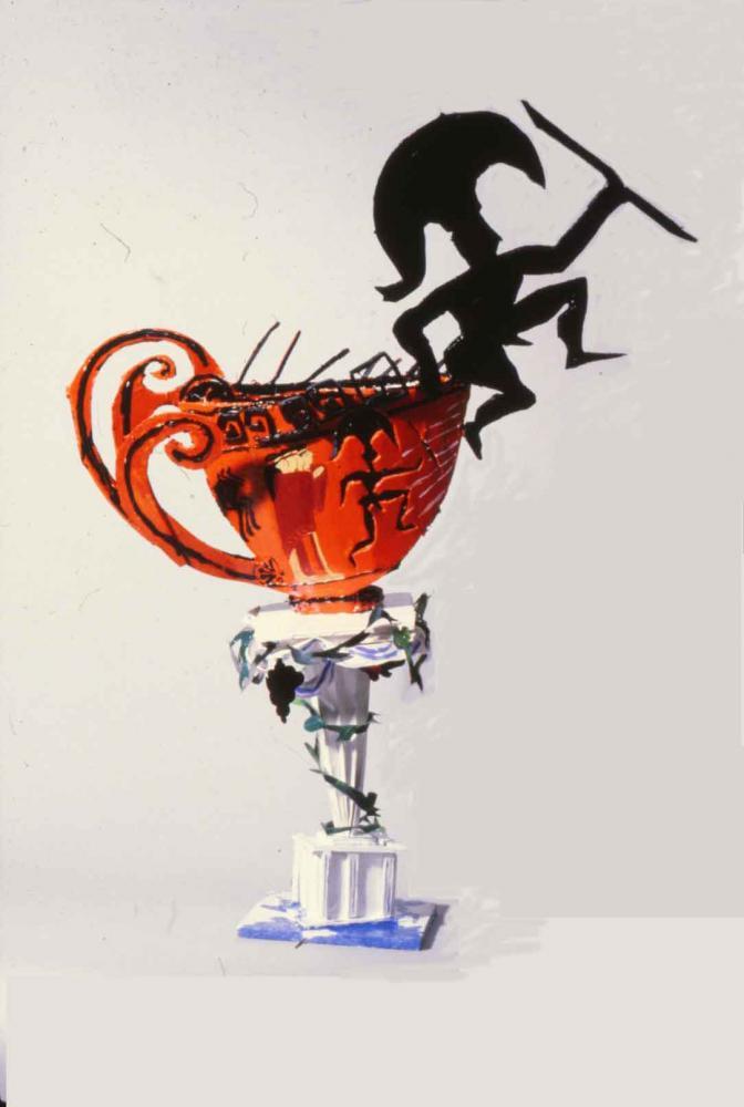 "Run Away Greek Foam-cor, gesso, pins, acrylic paint, paper 24"" H x 8"" W x 12"" D"