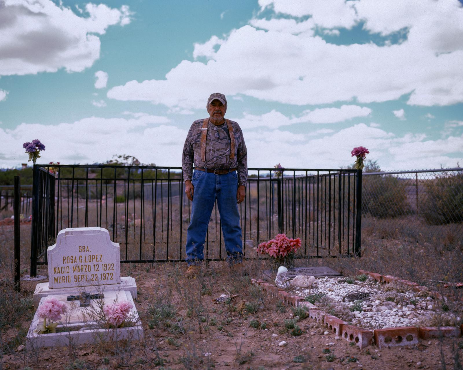 Richard Lopez, lymphoma cancer survivor, San Antonio, New Mexico April 2, 2016  He stands at the graveside of his parents, both dead from cancer and wonders if his and their sicknesses weren't caused by the atomic test. Lopez worked in the soil amid fall out from the1945 Trinity test.