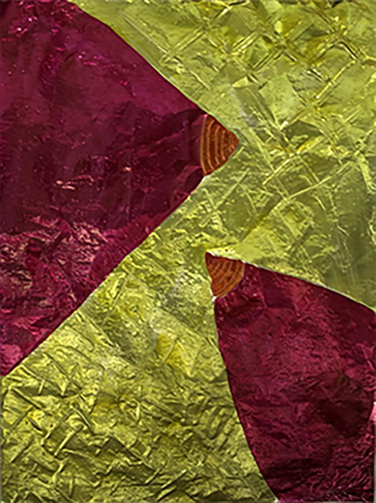 "Two Tits 2016 Aluminum foil, aniline dye, polyurethane 36""Hx26""W"