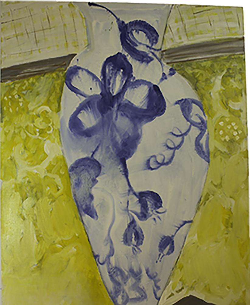 "Blue Vase on a Ledge 2011 Oil on linen 25"" H x 36"" W"