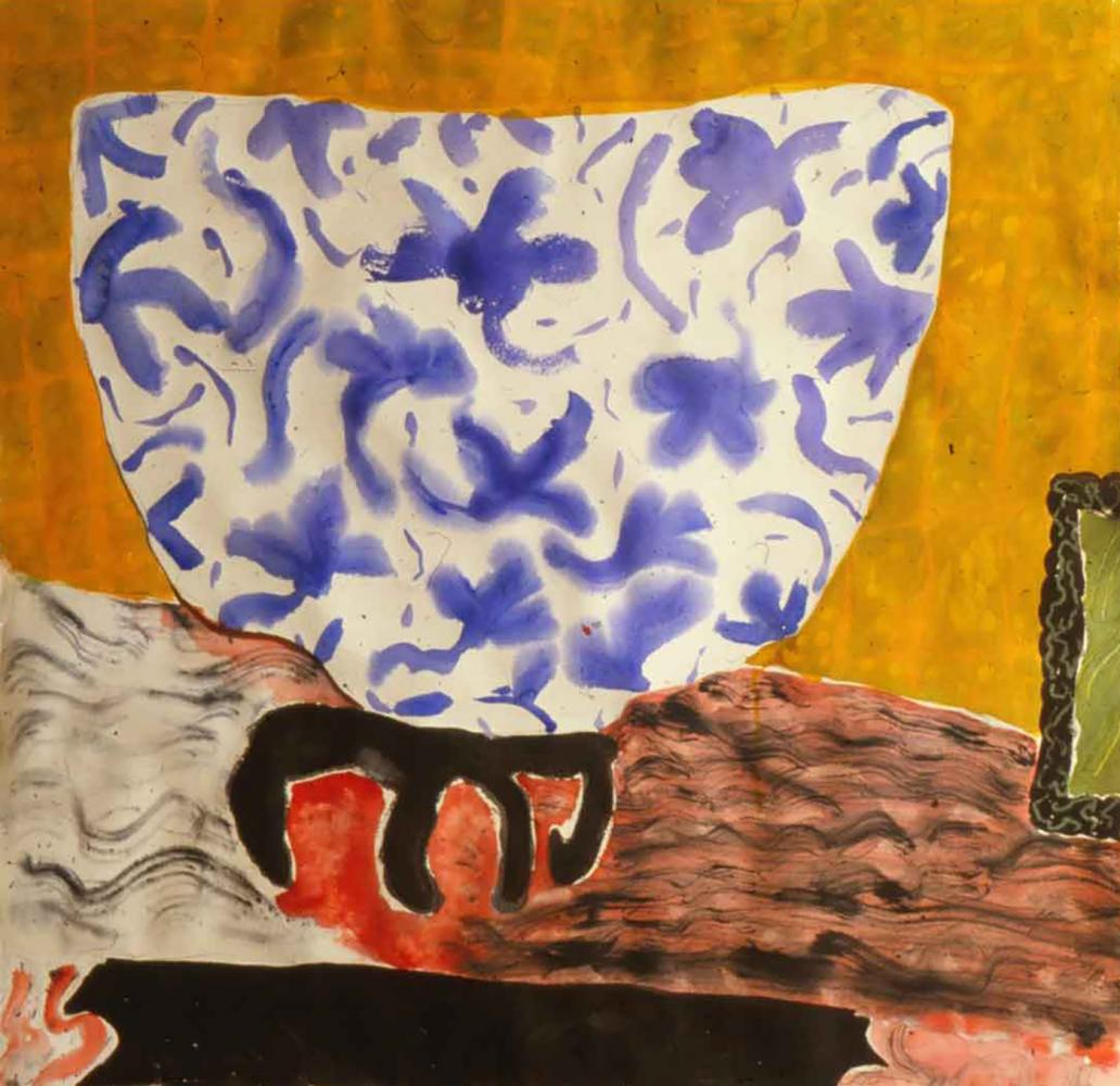 """Still Life with A Blue Bowl Watercolor, gouache 40"""" H x 50"""" W"""