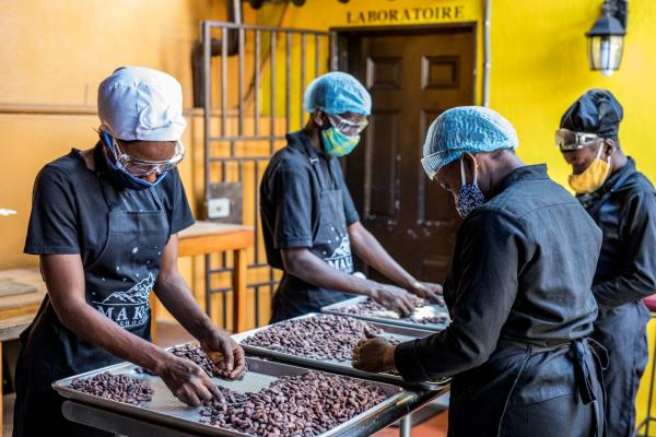 Sorting of cocoa beans according to their size and appearance in the workshops of Makaya Chocolat, Pétionville, Haiti. (c) Valerie Baeriswyl
