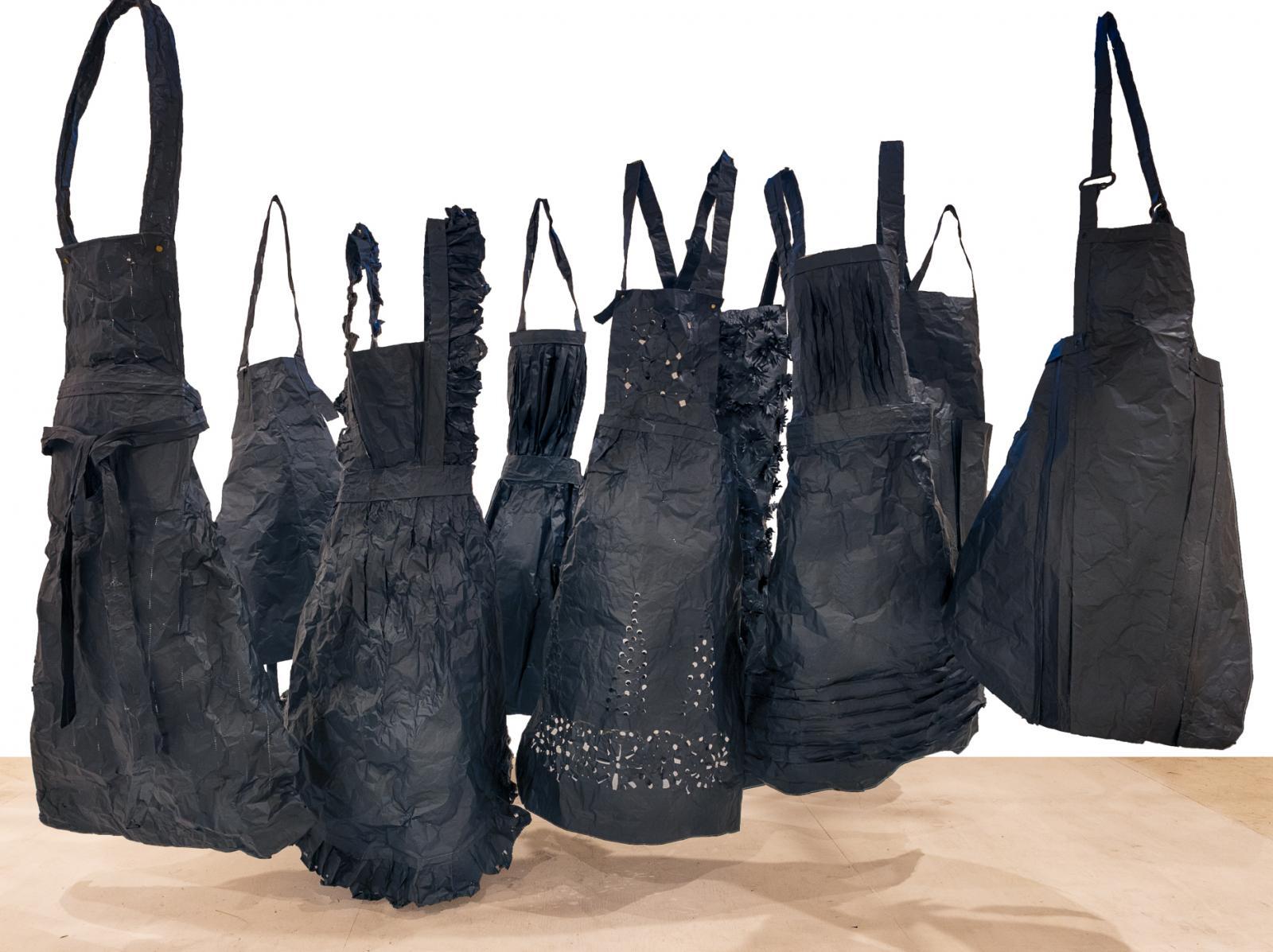 Aprons (Studio Installation) 2020- Cinefoil, black carabiners, gaffers tape, paper fasteners 9'Hx16'Wx12'D