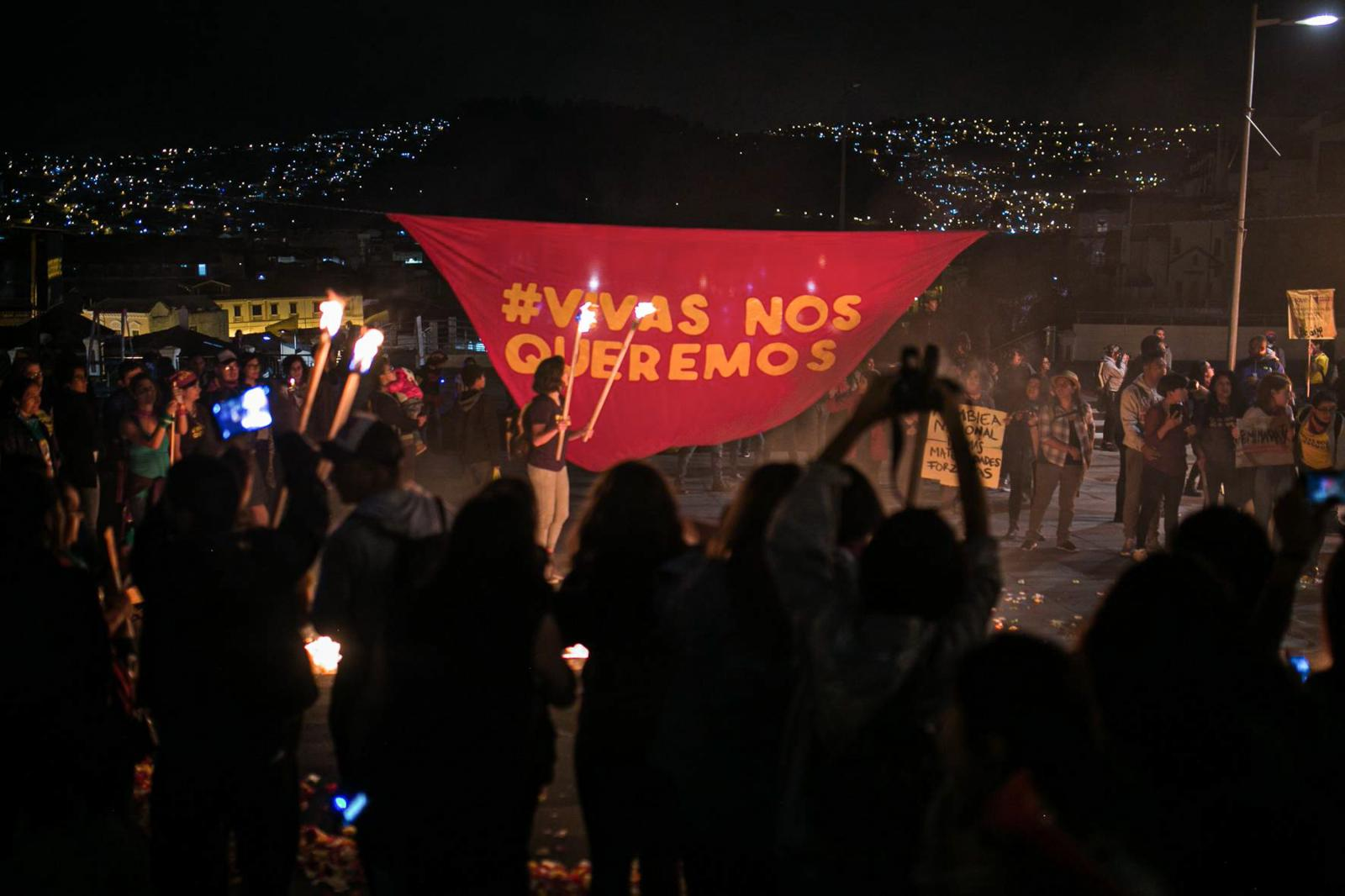 Demonstrators of the indigenous uprising in the afternoon of October 13, 2019, retreat in the middle of the rain before the launching of several tear gas bombs by the national police on the grounds of the Ecuadorean Culture House. Quito, Ecuador.