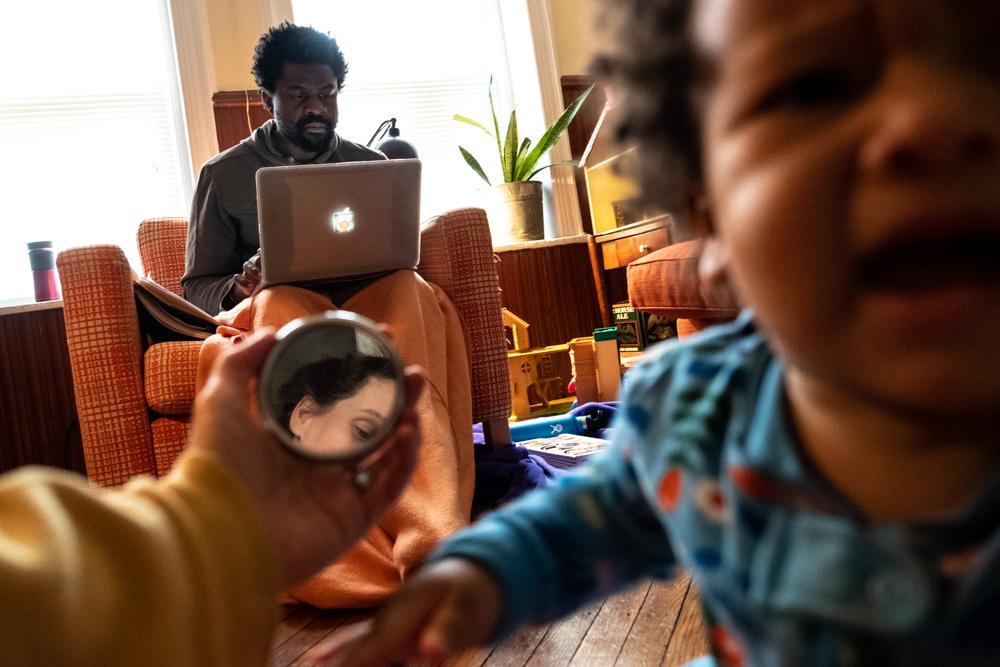 April 27, 2020: One more day in the living room. I attempt to include myself in these photographs. Another day is passing, and Thierry and I urgently need to work.