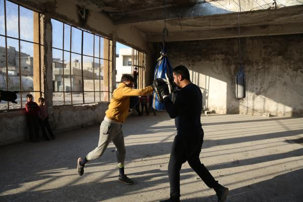 Boxing workout in the Syrian town of Atareb.