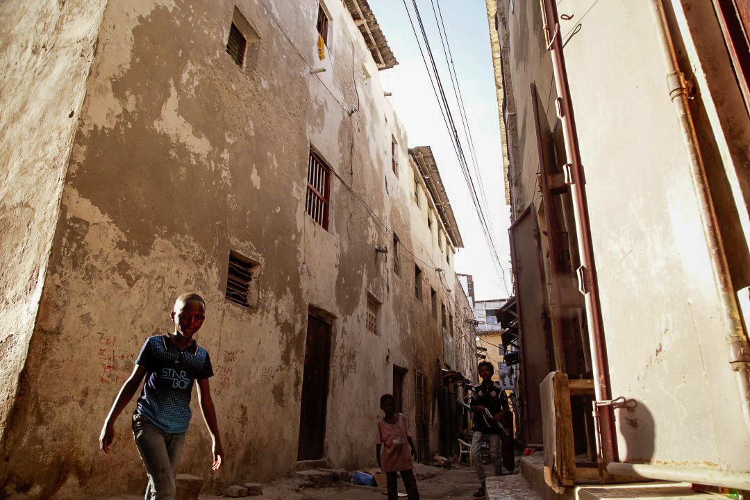 Kids play football in the narrow alleys of Xamar Weyne, Somalia.