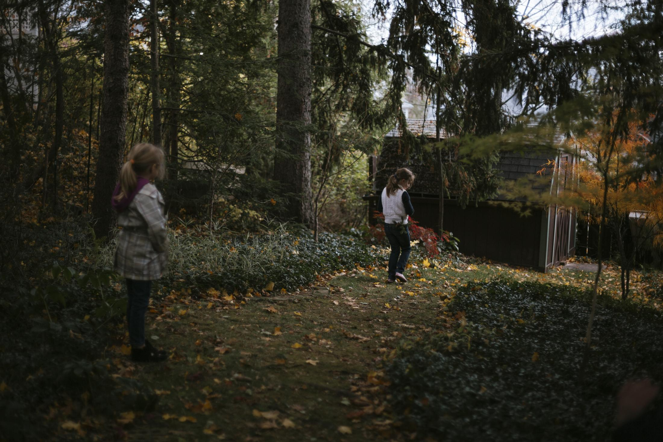 Lena (left) and Liesl walk through a family friend's garden. Liesl's mom discovered pine branches in the backyard that she thought would be perfect for Christmas decorations. Liesl agreed and started looking for pine branches. When she found branches she liked, she stuck them in the back pocket of her jeans.