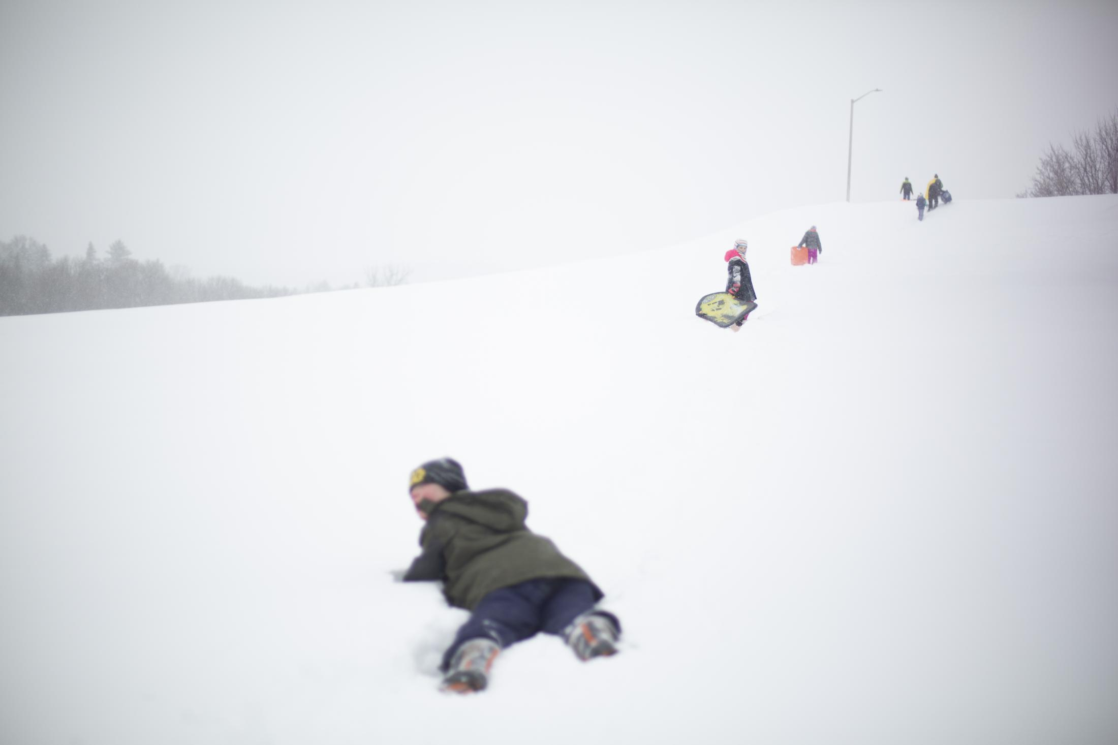 The trek to find the perfect sledding hill takes awhile and a few falls, but according to Liesl it is always worth it.
