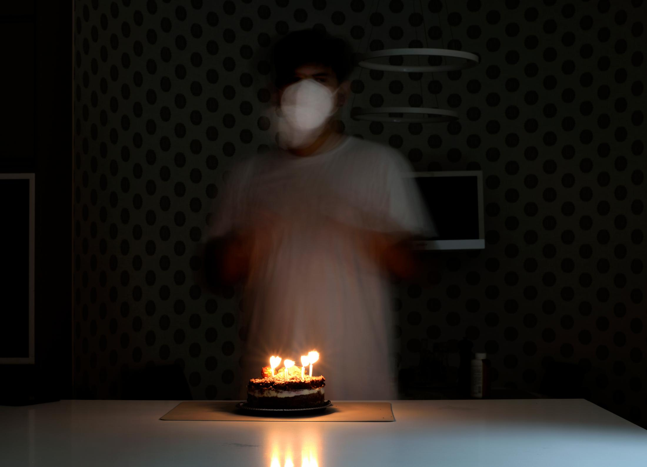 I celebrated my birthday, January 7, in the middle of quarantine. My sister and my mom were singing and clapping in the kitchen with me, while my dad was watching from his room on a video call. He had tested positive the same week, and quarantined in his room and we stayed in the house as well helping him.