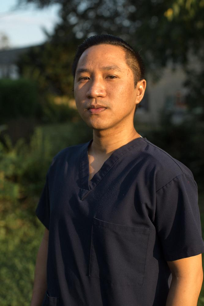 BOWIE, MD - AUGUST 26, 2020: Marc Bontogon, 31, is a telemetry nurse at Doctors Community Hospital in Maryland.