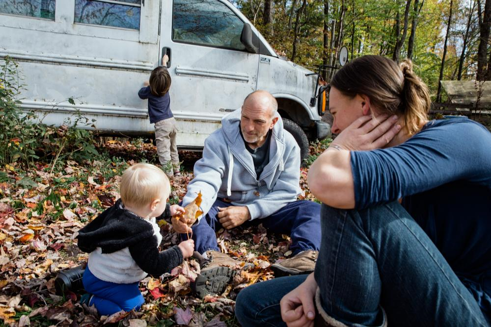 LIVINGSTON MANOR, NY - OCTOBER 13, 2019: Sean and Cheyenne Zigmund play with their two children, Keisha and Escher.