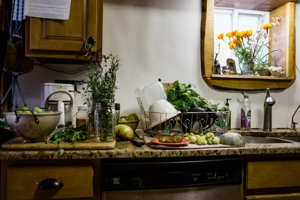 LIVINGSTON MANOR, NY - OCTOBER 12, 2019: Fresh produce from the Zigmund family farm is seen on the kitchen counters.