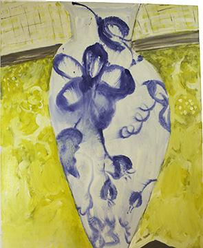 "Blue Vase on a Ledge 2011 Oil on linen 58"" H x 44"" W"