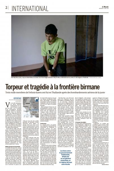 Tragedy on the Burmese border   Saw Doh Nay Soe, a 15 year old boy, one of the villagers was wounded in a Tatmadaw airstrike in Day Bu Noh village on March 27th.  Published on April 6, 2021.