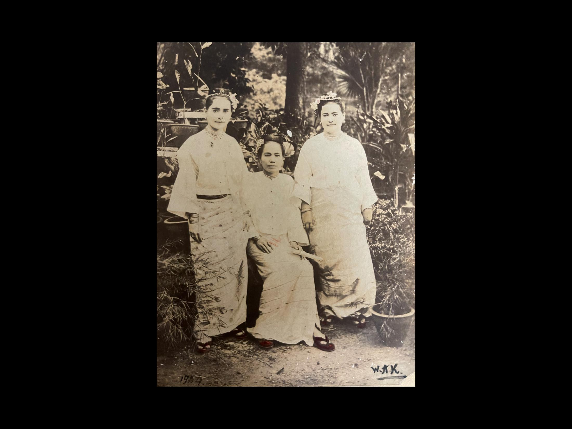 Mother and daughters at estate. Burma. 1904 photographer W.A.X