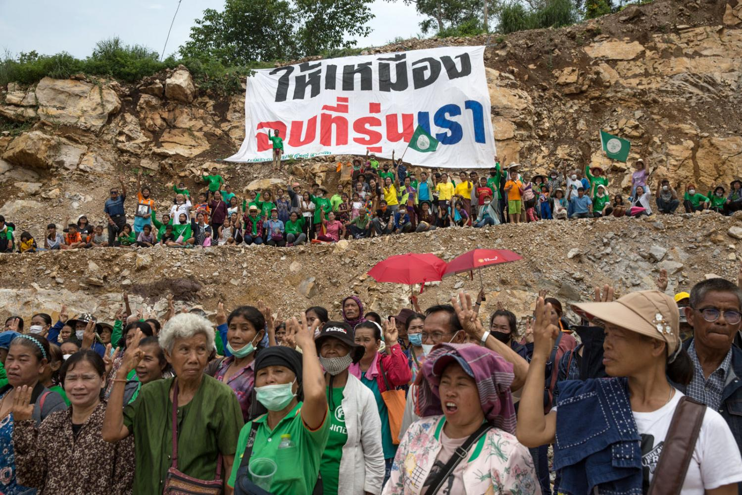 An anti-mining community celebrate their 're-taking' of a stone mine after 3 decades of fighting to close it down. Nong Bua Lam Phu, Thailand.
