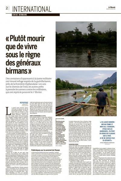 LE MONDE  Hundreds of young opponents of the military junta refuge in KNU control areas.  Published April 21, 2021.