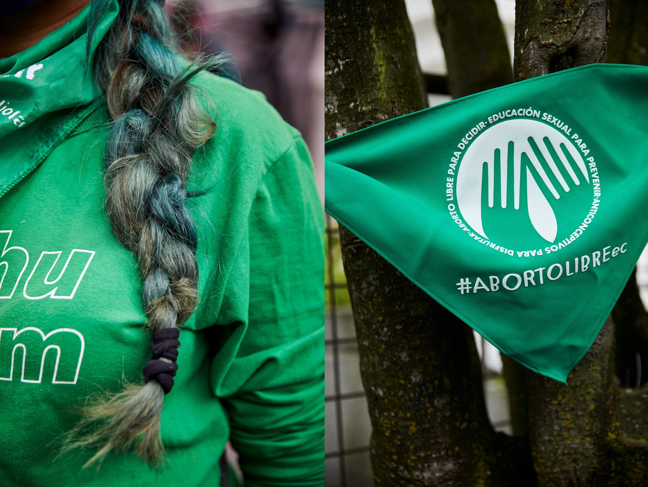Diptych. Detail of a woman's hair and the green handkerchief of the campaign for free, safe and free abortion in Ecuador. The color green has become a global symbol in the struggle for women's right to decide. April 28, 2021, Quito, Ecuador.