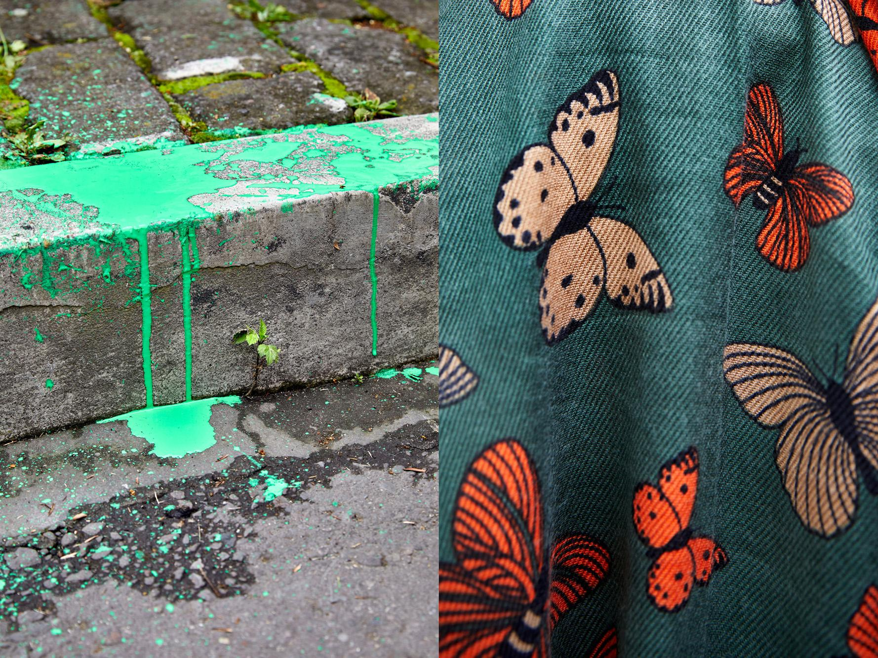 Diptych. Detail of a woman's green handkerchief and green paint at floor. The color green has become a global symbol in the struggle for women's right to decide. April 28, 2021, Quito, Ecuador.