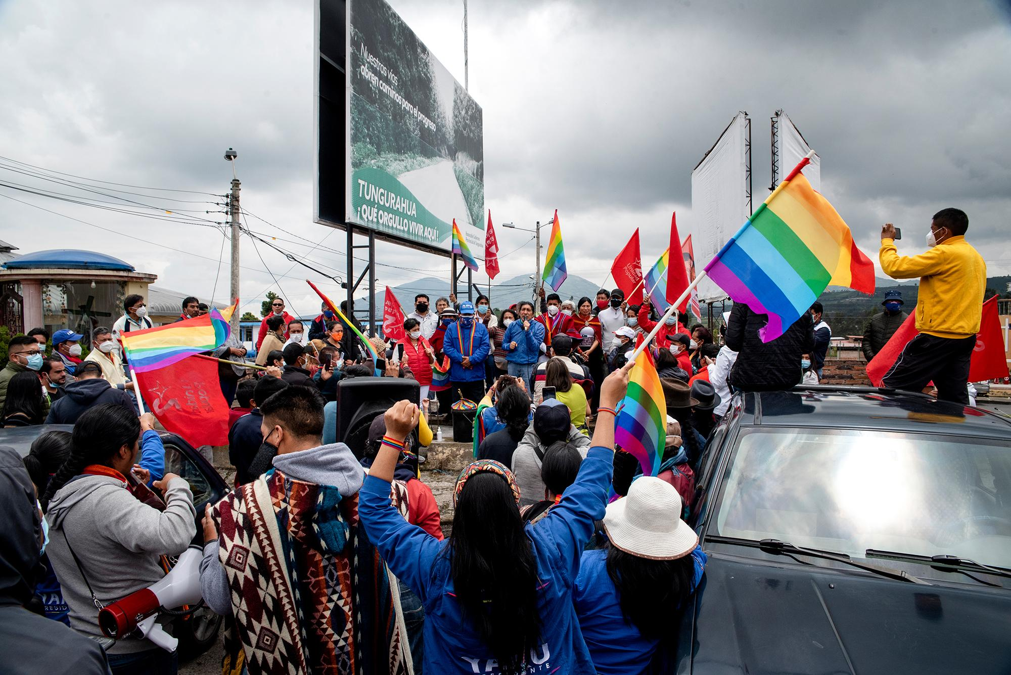 Indigenous leaders, activists, and supporters of the Pachakutik party receive the candidate president Yaku Pérez in the Mocha canton. Several participants join the National March for Democracy on its way to Quito to demand transparency in the electoral process on February 7. Tungurahua, Ecuador. February 22, 2021. Johis Alarcón for The New York Times.