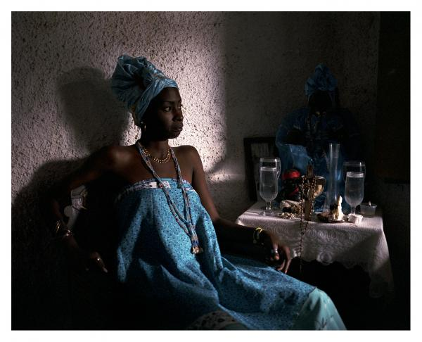 Yannay de las Mercedes Rodriguez Gutierrez is a daughter of Yemaya, called Aflekete in  Regla Arara : Yannay is initated to the Afro-Cuban religious form born from the mix of animist vodun beliefs, catholicism and spiritism. Religious syncretism in Cuba is so vivd that deities are equally called 'vodun', 'orishas' or 'saints'. Matanzas, Cuba. © Laeïla Adjovi