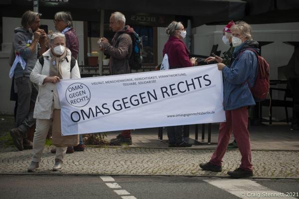 Omas Gegen Rechts Berlin came is support and to show Solidarity with Halle (Salle) for a day of action- Unteilbar (undivided) to show solidarity against the forces of the right. prior to the State Elections to be held here on the 6th June.