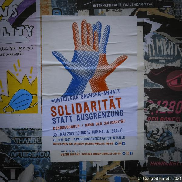 Solidarity in Halle (Saale) for a day of action- Unteilbar (undivided) to show solidarity against the forces of the right prior to the State Elections in Saxony-Anhalt of the 6th June.