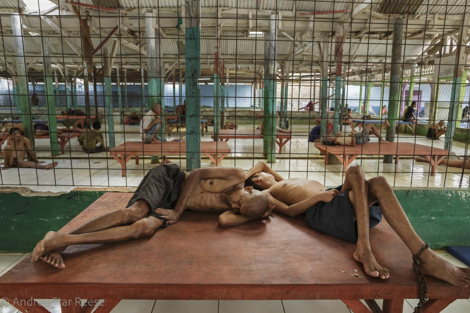 The Yayasan Galuh Rehabilitation Center in Bekasi, on the outskirts of Jakarta, before it was renovated. Men and women with mental health conditions were locked up in a grilled area of the facility without sanitation, for as long as nine years. © 2012 Andrea Star Reese