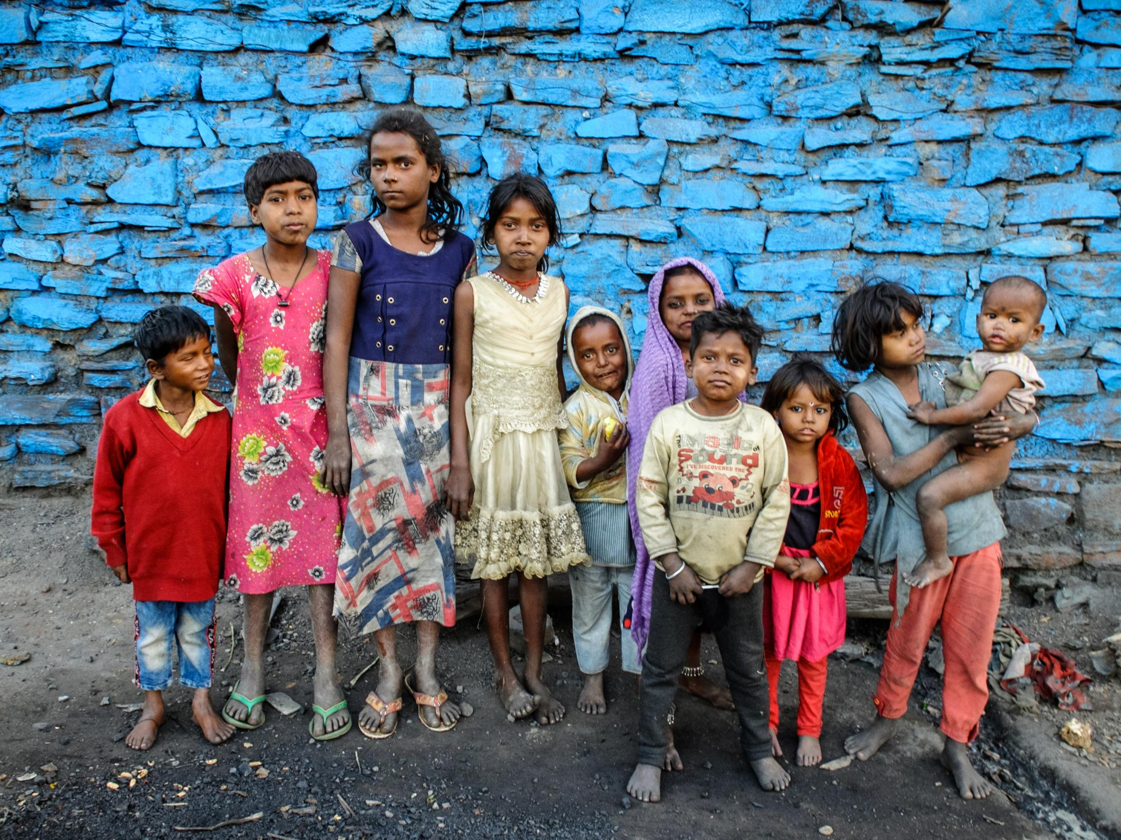 Children from Lilori Pathara village posing for a photo. Most of the children suffer from malnutrition, pulmonary deseases and skin conditions. India 2020