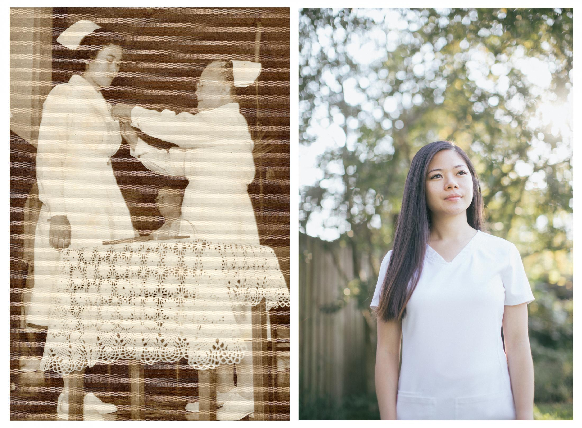 """Left: On April 1959, Araceli Teodoro [Marcial] received her pin from the Chinese General Hospital in Manila for finishing her nursing degree. The pinning ceremony has become a time-honored tradition since 1916 in the United States and United Kingdom. Archival Image: Bjoring Center for Nursing Historical Inquiry Right: """"I was so excited to attend my graduation,"""" says Elizabeth Grace Capadngan, a Filipino telemetry nurse at Doctors Community Medical Center, in Maryland. Elizabeth Grace has been a practicing registered nurse for a few years. She finished her Bachelors degree in nursing in the spring of 2020. Due to the COVID-19 pandemic, she was unable to have her graduation ceremony."""