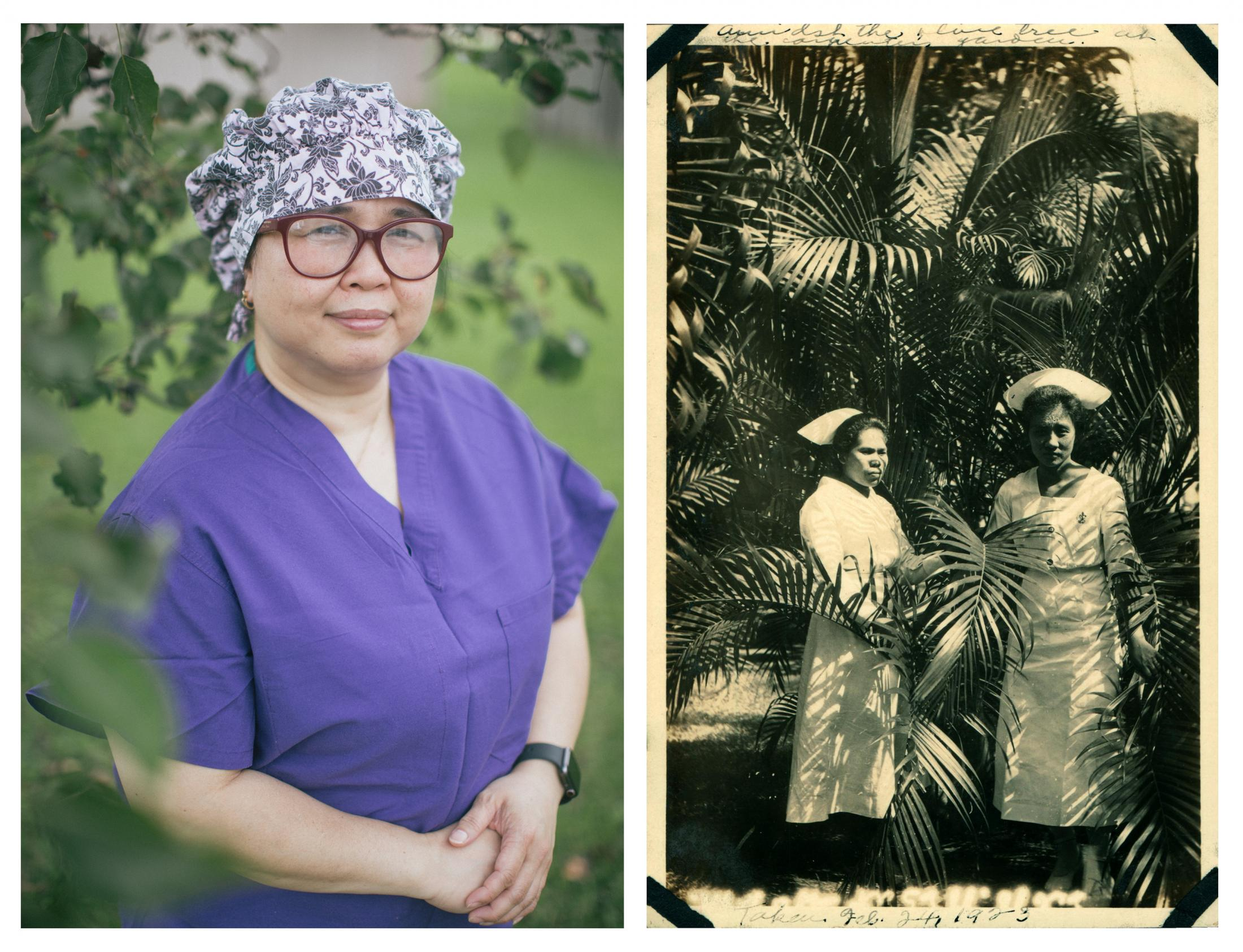 Left: Lovella Eugenio, 47, is an operating room nurse in Baltimore, Maryland. She is among the more than 150,000 Filipino nurses who have migrated to the United States since the 1960s, making them the largest group of immigrant nurses in the country. Right: Filipino nurses pose in a garden in Mindanao, Philippines in 1923 before they eventually migrated to the United States. Archival Image: Bjoring Center for Nursing Historical Inquiry
