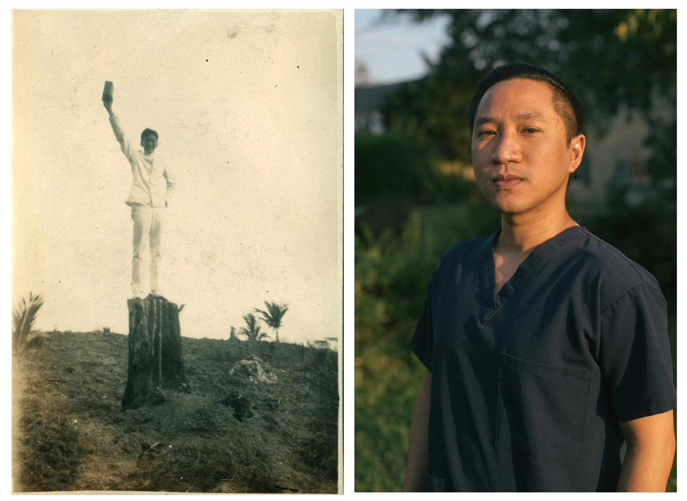 """Left: A Filipino nursing student poses at San Ramon heights in Mindanao, Philippines between 1921 and 1926. Archival Image: Bjoring Center for Nursing Historical Inquiry Right: """"We moved to the United States because it was a good opportunity for our family,"""" says Marc Bontogon, a Filipino telemetry nurse at Doctors Community Medical Center, in Maryland."""