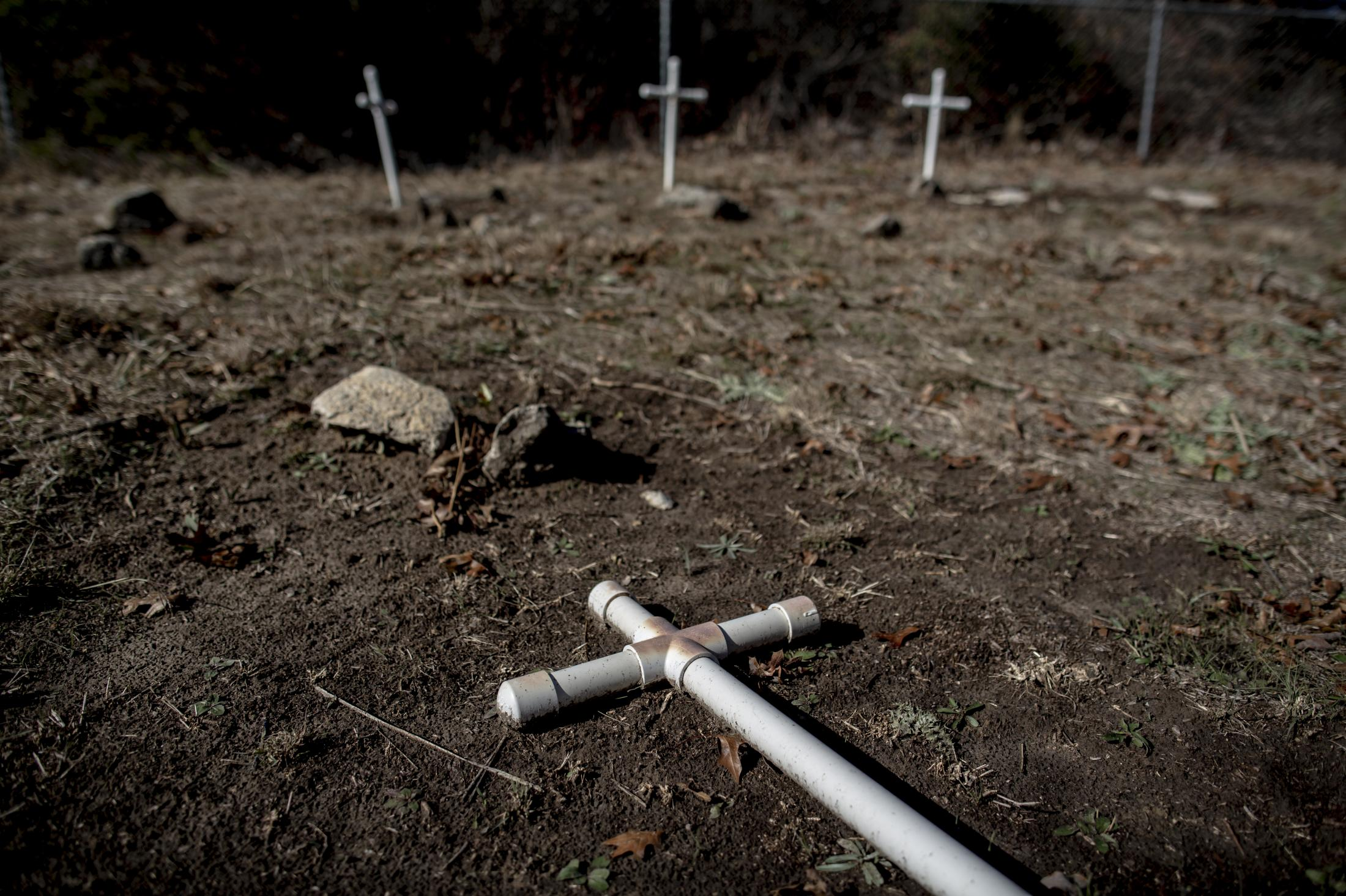 Crosses were placed by The Abandon Cemetery Association of Parker County to mark newly discovered graves of members of Anthony Crawford and James Grays Great Great Grandparents and family. The cemetery that belonged to their Great Great Grandparents who were slaves during the Confederacy in the 1800s. The brothers will be the first living relatives to visit these graves since the 1900s.